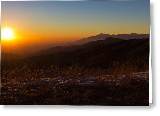 Winter Sunset Greeting Card by Heidi Smith