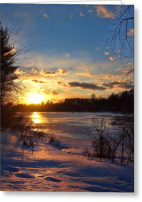 New England Snow Scene Greeting Cards - Winter Sunset Holiday Card 3 Greeting Card by Joann Vitali
