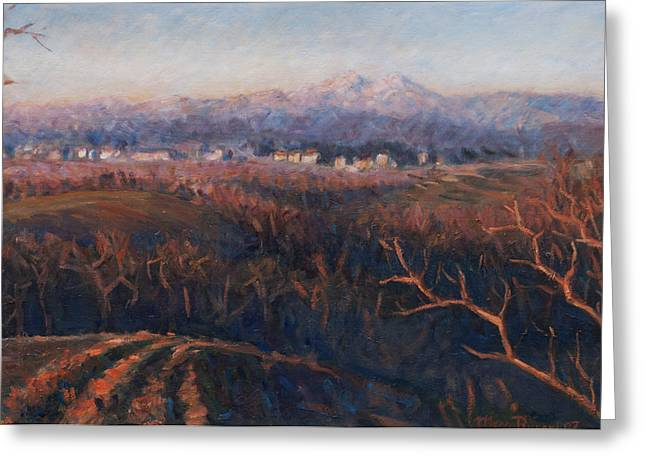 Winter Sunset In Brianza Greeting Card by Marco Busoni