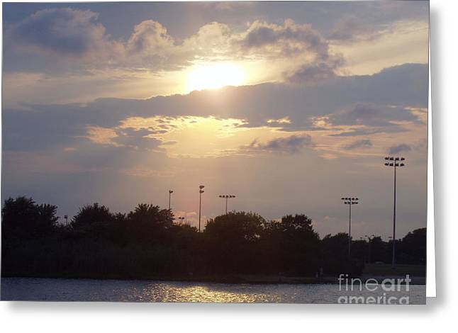Reflection Of Sun In Clouds Greeting Cards - Winter Sunset In Freeport NY Greeting Card by John Telfer
