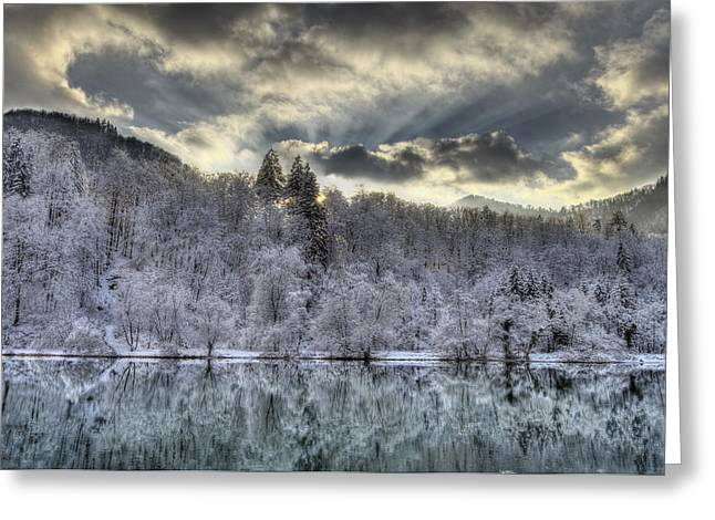 Snowy Evening Greeting Cards - Winter sunset Greeting Card by Ivan Slosar