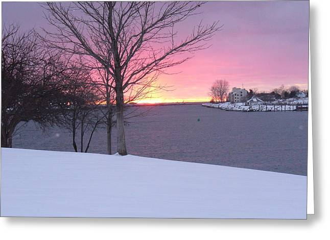 Winter Night Greeting Cards - Winter Sunset Greeting Card by Linda Goss
