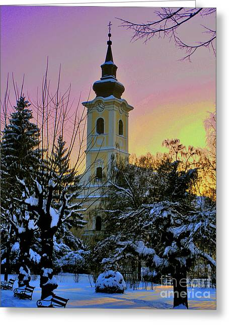 Minster Abbey Greeting Cards - Winter Sunset Greeting Card by Nina Ficur Feenan