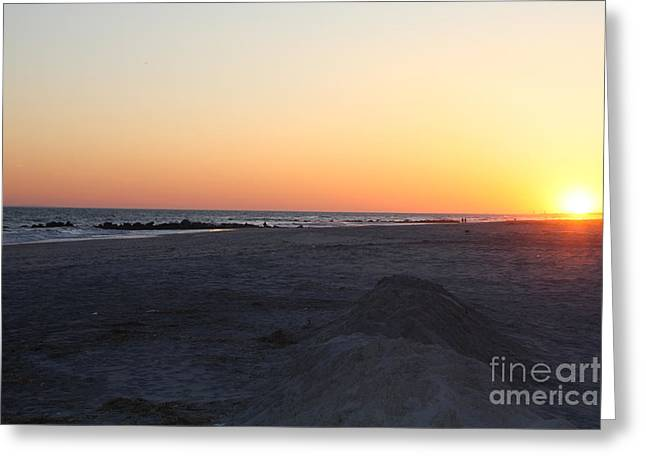 Winter Sunset On Long Beach Greeting Card by John Telfer