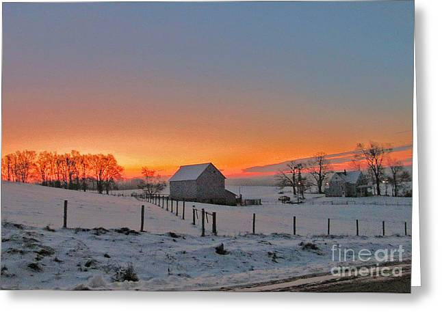 Winter Sunset On The Farm Greeting Card by Minding My  Visions by Adri and Ray