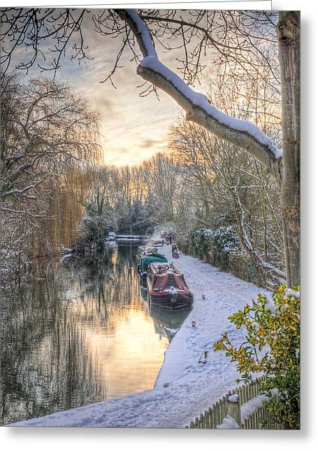 Winter Sunset On The River Greeting Card by Gill Billington