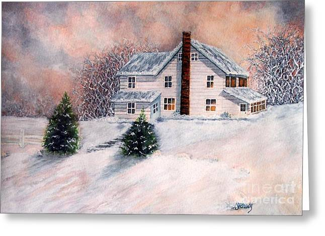 Upstate Paintings Greeting Cards - Winter Sunset on Winterton  Greeting Card by Janine Riley