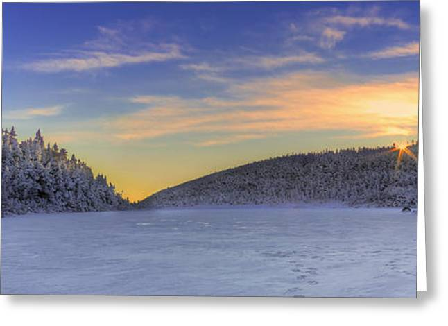 New England Snow Scene Greeting Cards - Winter Sunset over Eagle Lakes Greeting Card by Christopher Whiton