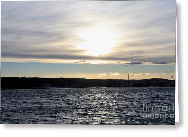 Reflection Of Sun In Clouds Greeting Cards - Winter Sunset Over Gardiners Bay Greeting Card by John Telfer