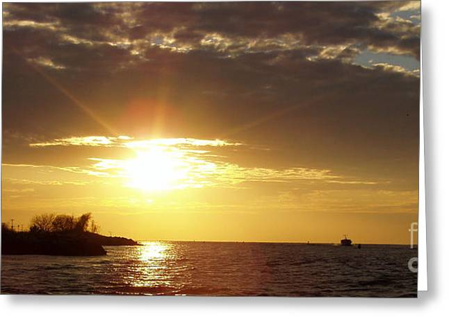 Sunset Framed Prints Greeting Cards - Winter Sunset over Long Island Greeting Card by John Telfer