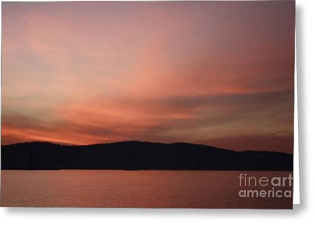 Reflections In River Greeting Cards - Winter Sunset Over Sleepy Hollow Greeting Card by John Telfer
