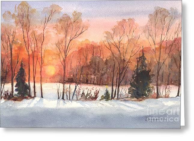 Snowstorm Drawings Greeting Cards - A Winter Sunset Serenade Greeting Card by Carol Wisniewski