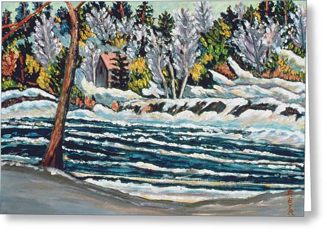 Melting Greeting Cards - Winter Thaw Gatineau River Greeting Card by Patricia Eyre