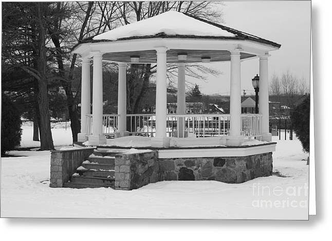 Winter Storm Greeting Cards - Winter Time Gazebo Greeting Card by John Telfer