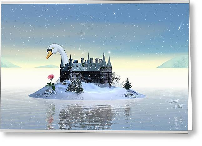 Swan Fantasy Art Greeting Cards - Winter Time II Greeting Card by Harald Dastis