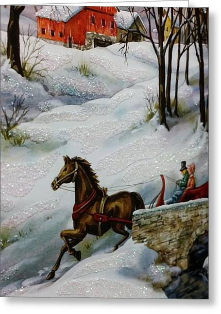 Horse And Buggy Drawings Greeting Cards - Winter Time With T And R Greeting Card by Rob Hans