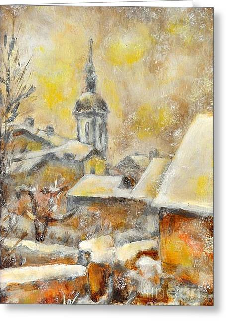Snowy Evening Greeting Cards - Winter town Greeting Card by Jiri Capek