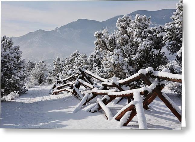 Split Rail Fence Greeting Cards - Winter Trail Beckons Greeting Card by Diane Alexander