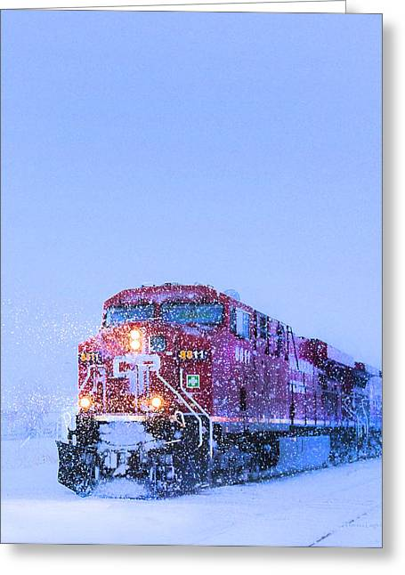 Winter Night Greeting Cards - Winter Train 8811 Greeting Card by Theresa Tahara