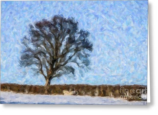 Scotland Greeting Cards - Winter tree Greeting Card by Liz Leyden