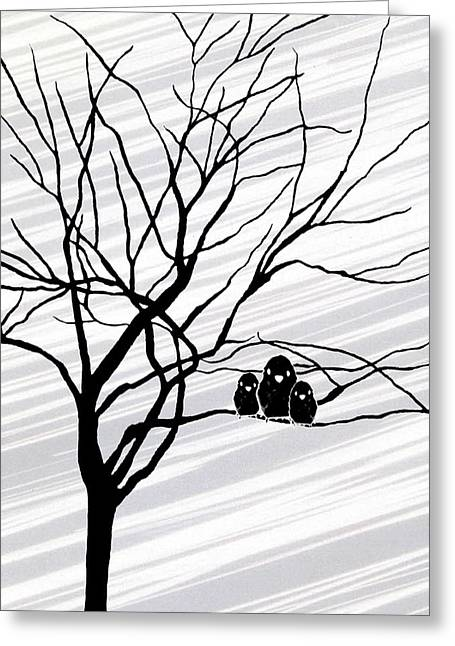 Winter Trees Drawings Greeting Cards - Winter Tree White Greeting Card by Natasha Marco