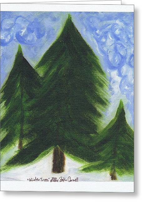 Van Gogh Style Paintings Greeting Cards - Winter Trees Greeting Card by Beth  Cornell