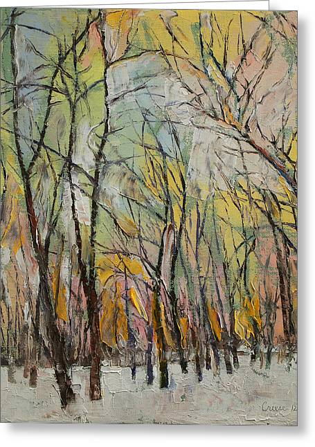 Impasto Tree Greeting Cards - Winter Trees Greeting Card by Michael Creese