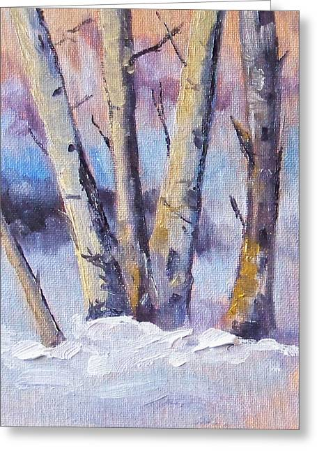 Snow Scene Landscape Greeting Cards - Winter Trees Greeting Card by Nancy Merkle