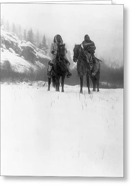 Indian Warriors Photographs Greeting Cards - Winter Trek   1908 Greeting Card by Daniel Hagerman