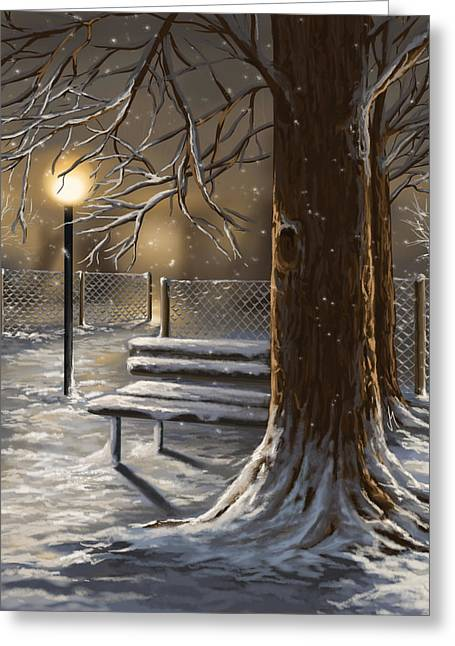 Snowy Night Night Greeting Cards - Winter trilogy 1 Greeting Card by Veronica Minozzi