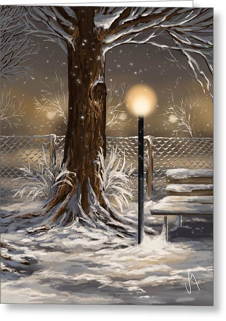Snowy Night Greeting Cards - Winter trilogy 2 Greeting Card by Veronica Minozzi