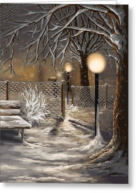 Snowy Night Greeting Cards - Winter trilogy 3 Greeting Card by Veronica Minozzi