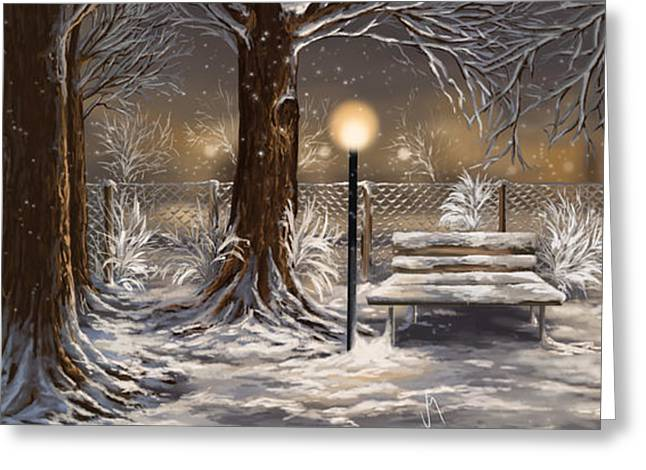 Snowscape Paintings Greeting Cards - Winter trilogy collage Greeting Card by Veronica Minozzi