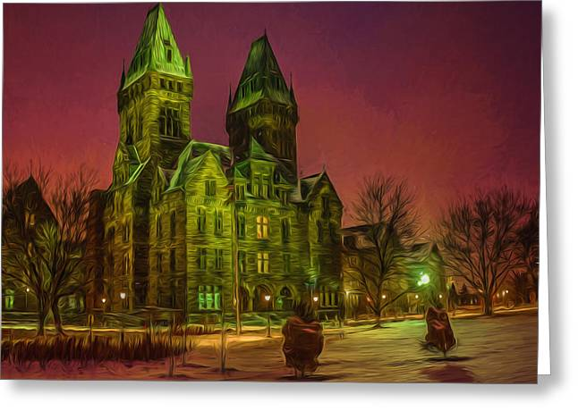 Psychiatric Greeting Cards - Winter Twilight at Buffalo Psych Center N1 Greeting Card by Chris Bordeleau