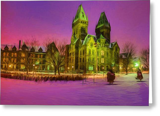 Psychiatric Greeting Cards - Winter Twilight at Buffalo Psych Center N2 Greeting Card by Chris Bordeleau