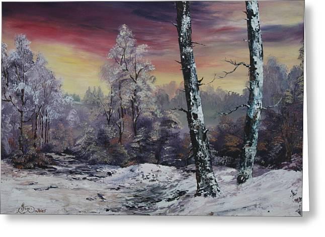 Jean Walker Greeting Cards - Winter Twilight Greeting Card by Jean Walker