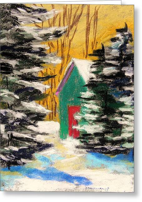 Jmwportfolio Drawings Greeting Cards - Winter Twilight Greeting Card by John  Williams