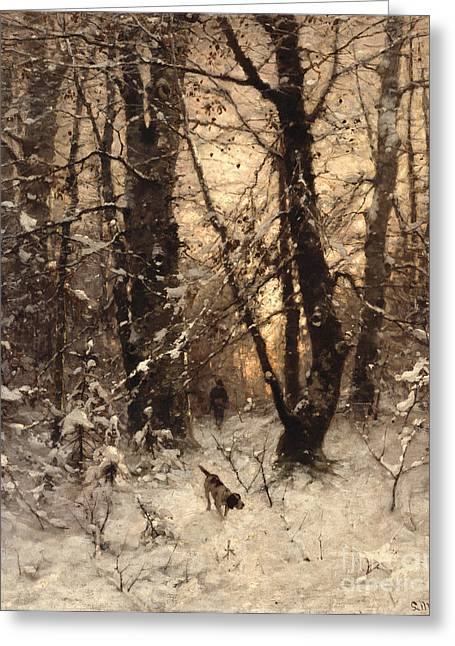 Dog Walking Greeting Cards - Winter Twilight Greeting Card by Ludwig Munthe