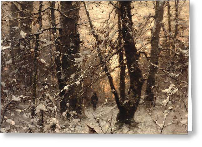 Winter Twilight Greeting Card by Ludwig Munthe
