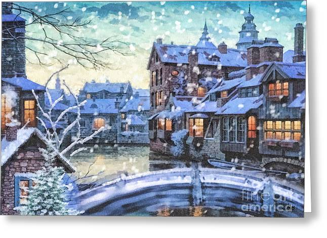 White Paintings Greeting Cards - Winter Twilight Greeting Card by Mo T