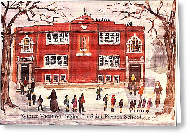 Winter Vacation Begins For Saint Pierre's School Greeting Card by Rita Brown