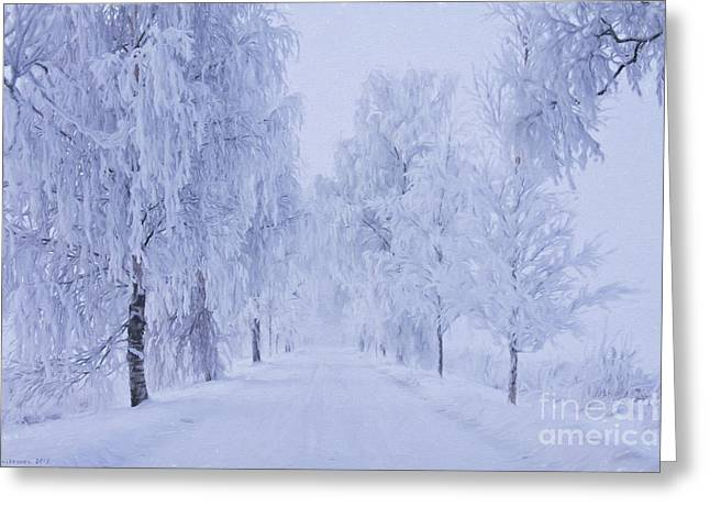 Harmonious Paintings Greeting Cards - Winter Greeting Card by Veikko Suikkanen