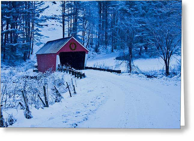 Snow-covered Landscape Digital Art Greeting Cards - winter Vermont covered bridge Greeting Card by Jeff Folger