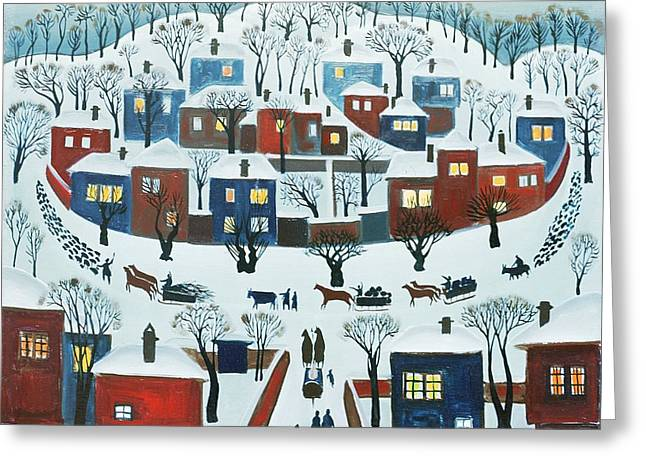 Snowy Evening Greeting Cards - Winter Village, 1969 Greeting Card by Radi Nedelchev