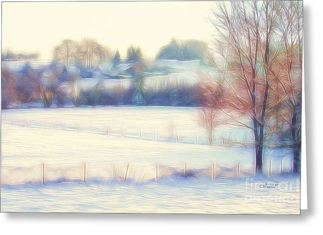 Digital Manipulation Art Greeting Cards - Winter Village Greeting Card by Jutta Maria Pusl