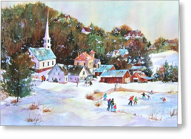 New England Village Paintings Greeting Cards - Winter Village Greeting Card by Sherri Crabtree
