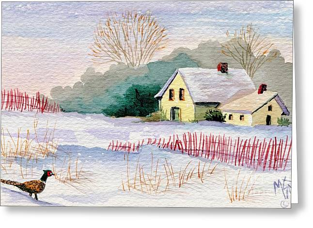 Snow Drifts Paintings Greeting Cards - Winter Visitor Greeting Card by Marilyn Smith
