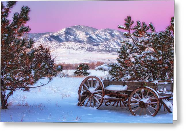 Colorado Mountains Greeting Cards - Winter Wagon Greeting Card by Darren  White