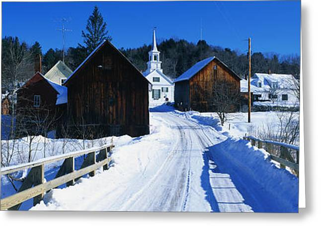Main Street Greeting Cards - Winter Waits River Vt Greeting Card by Panoramic Images