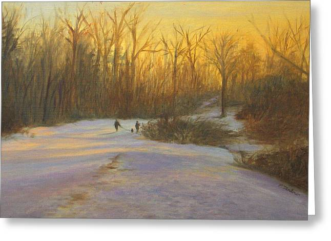 Dogs In Snow. Greeting Cards - Winter Walk at Sunset Greeting Card by Phyllis Tarlow
